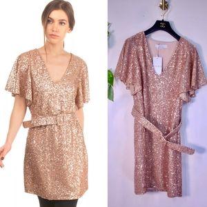 NWT KAOS Italy Gold Sparkle Shimmer Mini Dress M
